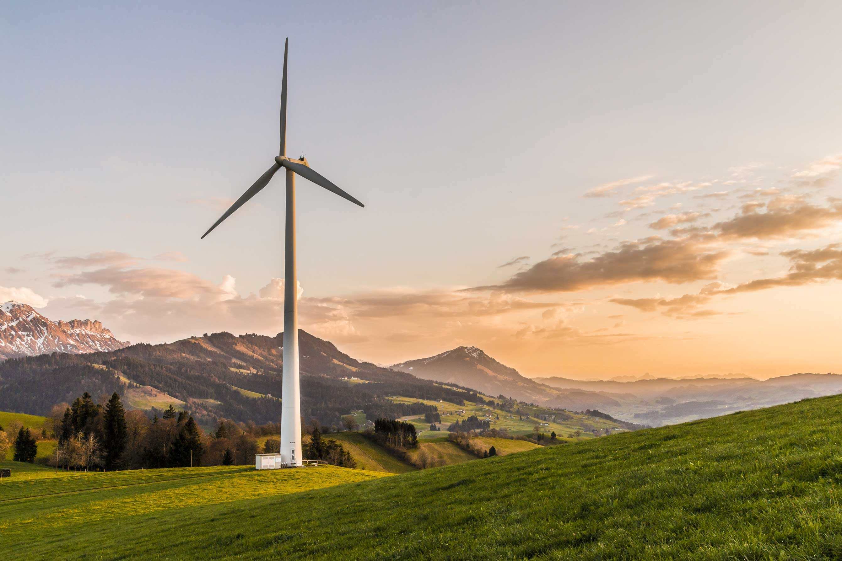 Wind Turbines on a mountain background